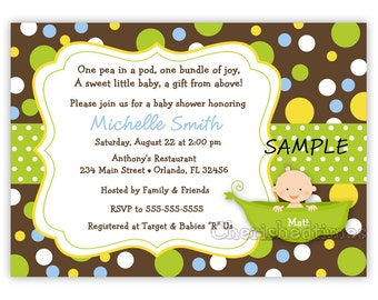 A Pea on a Pod Baby Shower Invitation Neutral, Boy or Girl (Digital File)