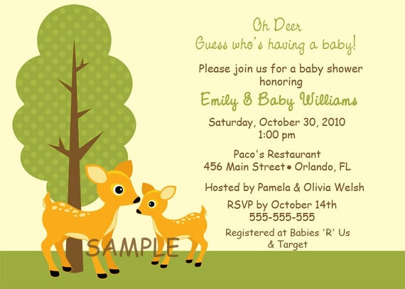 Mommy And Baby Deer Baby Shower or Birthday Invitations Girl or Boy (You Print)