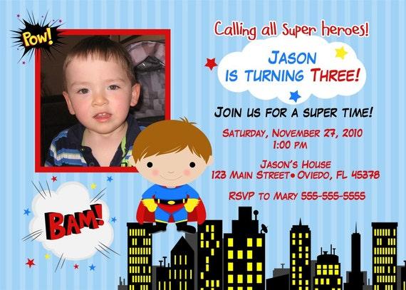 Superheroe 2 Birthday Photo Card Invitation (You Print)
