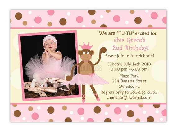 Ballerina Monkey Birthday Photo Card