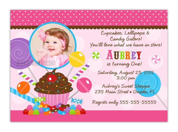 Sweet Shoppe Candyland Birthday Invitation With Picture or Without (Digital File)