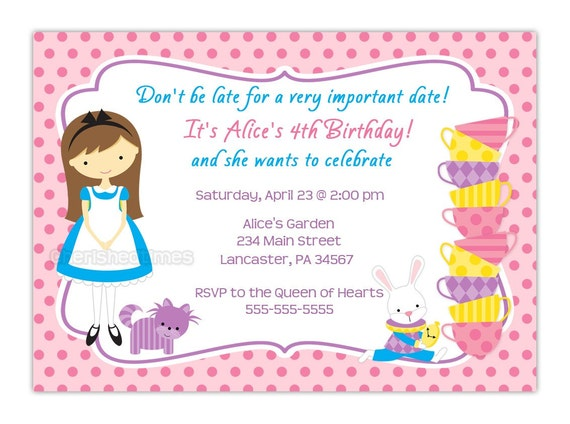 Alice in Wonderland Inspired-Birthday Party Invitation (You Print)