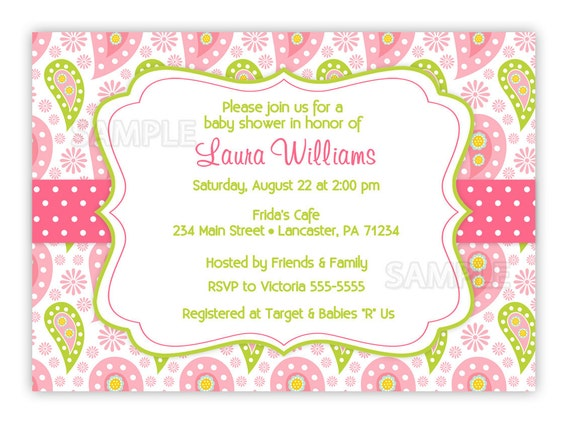 Paisley Baby Shower, Bridal Shower or Birthday Invitation (You Print)