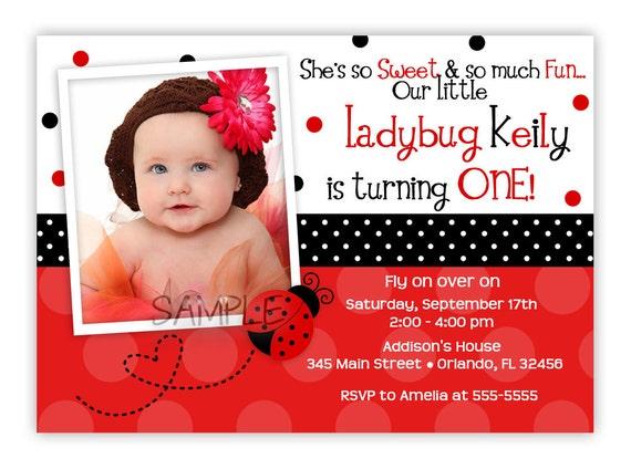 Pink or Red Ladybug Birthday Invitation (You Print)