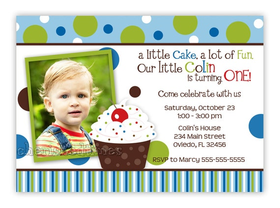 Stripes And Dots Boy Cupcake Party Invitation (Digital File)