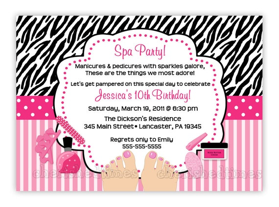 Zebra or Damask Pedicure SPA Birthday Party Invitation (You Print)