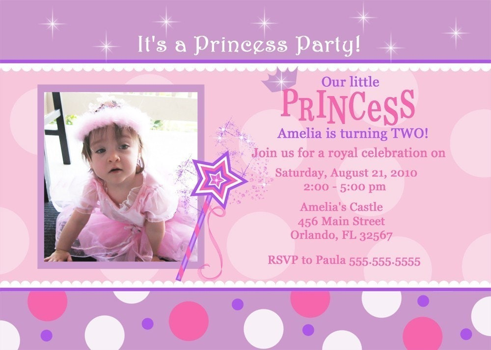 Pink And Purple With Dots Princess Birthday Party Invitation