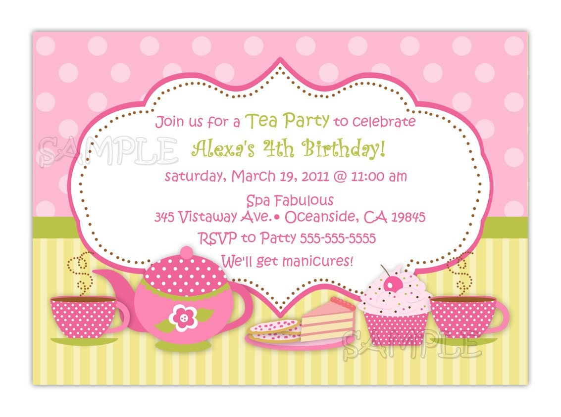 Tea Party Birthday Invitation You Print – Invitation for Tea Party