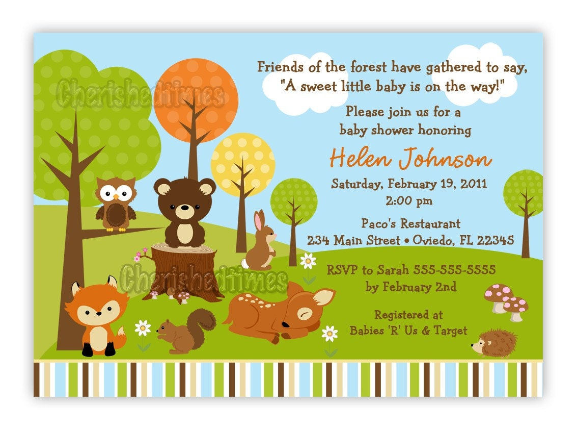 woodland forest friends animals baby shower by cherishedtimes