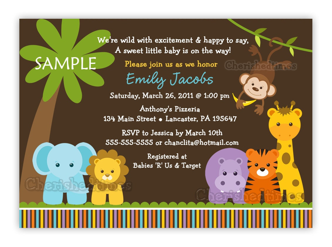 jungle safari wild animals baby shower invitation you print, Baby shower invitation