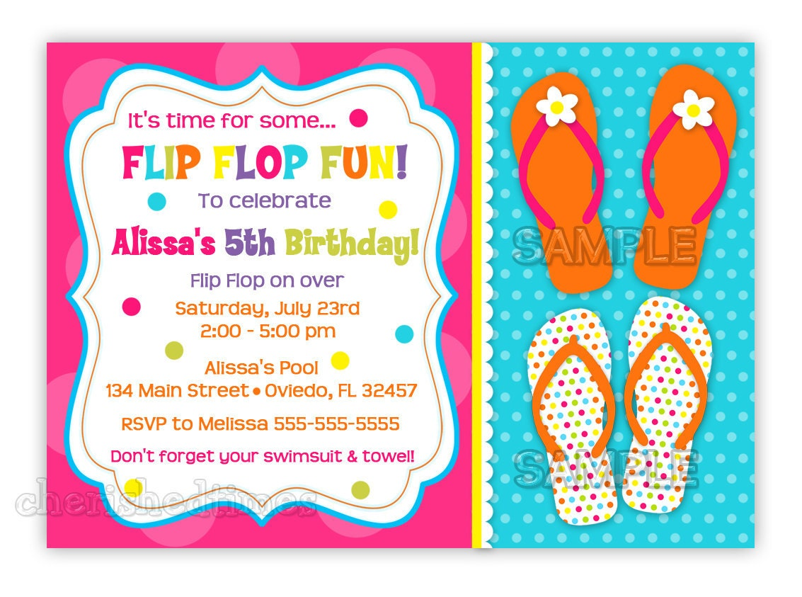 Fun Colorful Flip Flops Birthday Invitation You Print – Flip Flop Party Invitations
