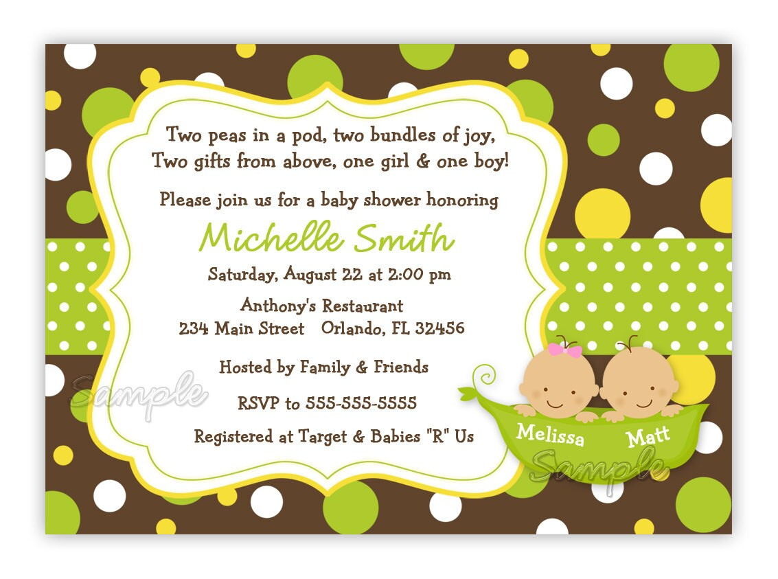 two sweet peas in a pod style 2 baby shower invitation twins