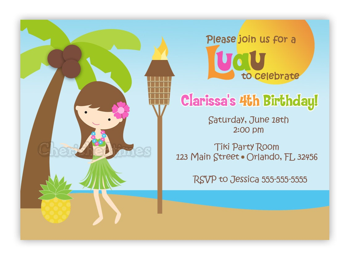 Custom Sweet Luau Hula Girl Birthday Invitation You Print – Tropical Birthday Invitations