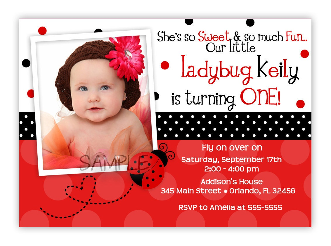 Pink or Red Ladybug Birthday Invitation You Print – Ladybug Invitations 1st Birthday