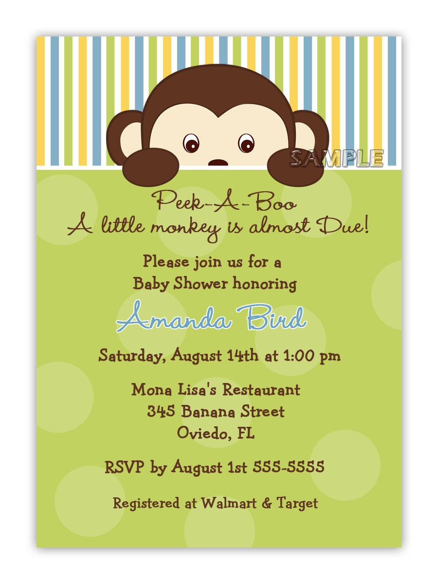 peek a boo monkey baby shower for boy or girl or birthday