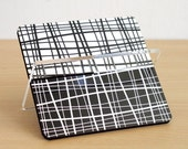 ON SALE desk accessories card holder desktop storage organization black white criss cross zigzag design boss coworker friend gift for him