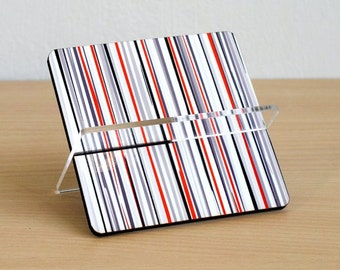 Desk Business card holder, desk card holder, desk accessories ,desk organizer, office home decor, friends coworker, grey red black stripes
