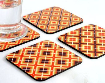 Drink Coasters, Wooden coasters, Wood coasters, Orange pumpkin square tiles Geometric Modern coaster set, set of four coasters