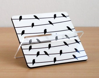 Business card holder, business card, desk accessories ,desk organizer, home and living, coworker boss gift, black white, birds on a wire