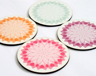 Coasters,set of four drink coasters,Wood coasters, Pink Turquoise coasters, Pastel geometric coasters,retro coaster set,printed coasters