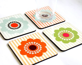 coasters shabby chic soft pastel floral decor orange turquoise retro  kitchen table cook chef hostess home decor