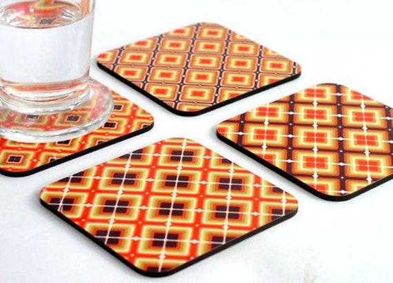 Drink Coasters, Wooden coasters, Wood coasters, Orange pumpkin square tiles Geometric Modern coaster set, set of four coasters