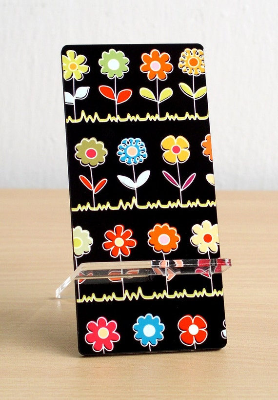 Back to school Business card holder iphone stand desk accessories desk organizer cell holder colorful flower design black office home decor