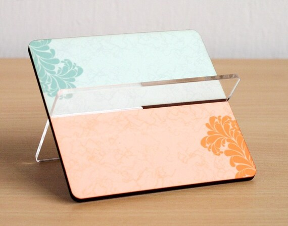 Business card holder desk organizer for her mothers day gift for men office accessory home decor shabbt chic turquoise and orange