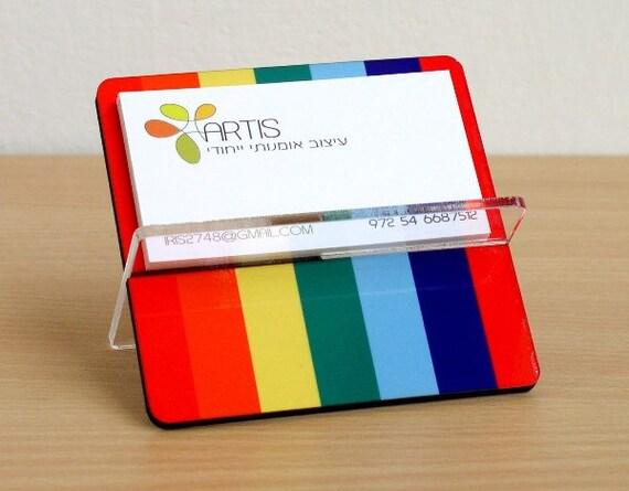 Business card holder - desk organizer - display rack - rainbow colorful stripes