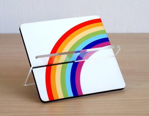 Business card holder, desk card holder, desk accessories ,desk organizer, home living. office decor, coworker boss gift, colorful rainbow