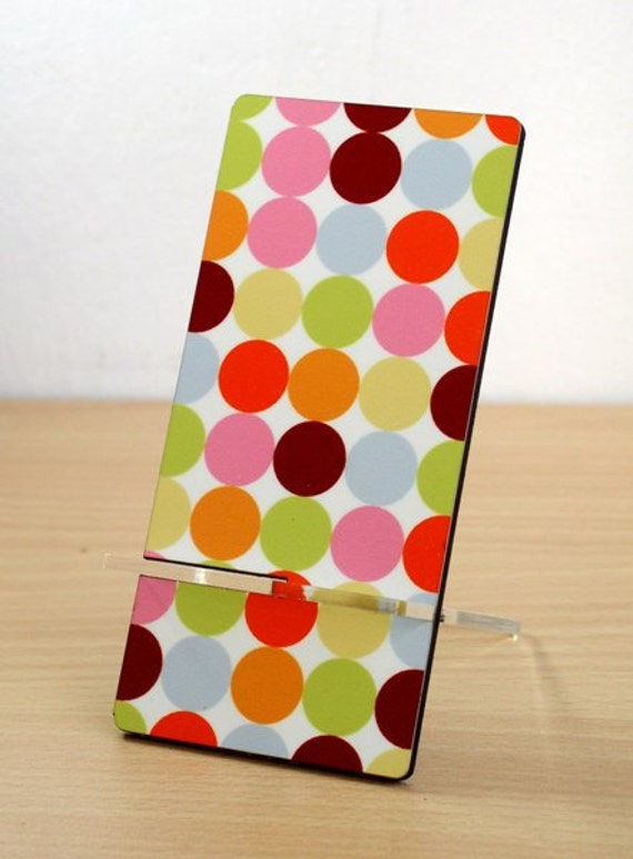 Business card holer cell holder desk organizer colorful polka dots  desk accessories iphone accessories gadget