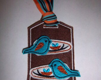 Boutique Blue Bird on Tree Branch Hair Clips with Decorative Holder