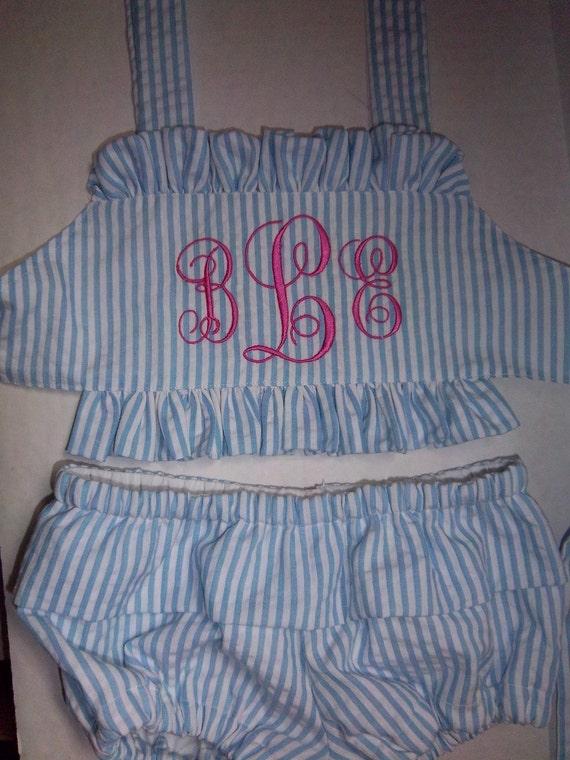 Boutique Seersucker Two  Piece Swimsuit  Size 6mths.-12mths.-18mths.--2T-3T-4T-5T