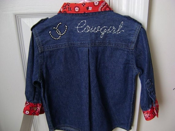 Upcycled Girl's Embroider Denim Cowgirl Shirt