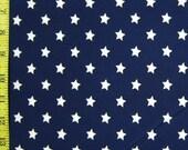 Stretch Print Lycra, Navy Blue with White Stars Fabric