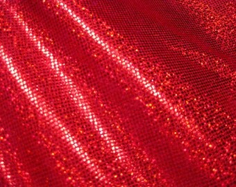 Red - Red Hologram Foil Dot Spandex Fabric