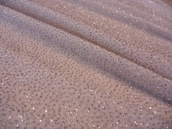 White With Silver Glitter Slinky Lycra Fabric
