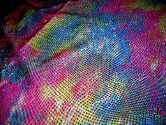 Jewel Tone Tie Dye Hologram Lycra Fabric,  3 small pieces