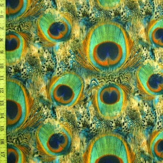 Peacock Print Stretch Lycra Fabric