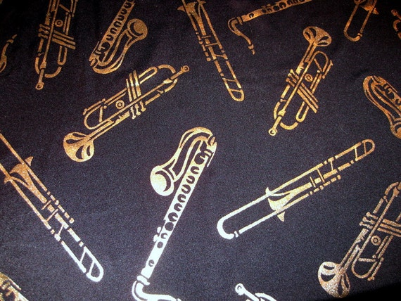 "3"" x 59"" Music Instruments - Gold Foil Print on Black Stretch Lycra Fabric"