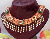 Necklace with Green and White TURKISH EYES