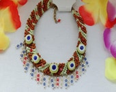 Necklace with Green TURKISH EYES