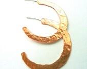 Handmade Hammered Copper Hoop Earrings - SALE