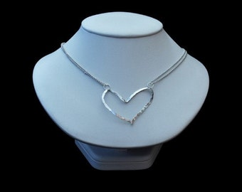 Hammered Open Heart Silver Necklace