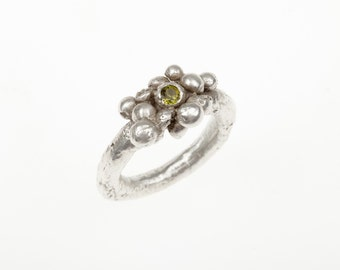 Silver Bubble Ring  with Peridot
