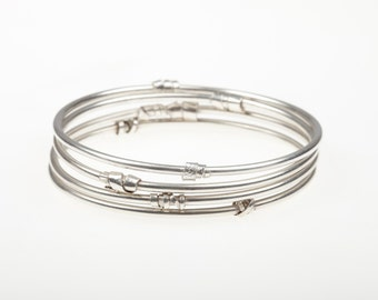 Sterling Silver Stacking Bangle Bracelet with Silver Twists