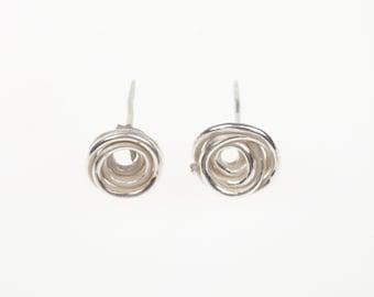 Handmade Silver Whirl Ear Studs, sterling silver earrings,  handmade earrings modern earrings