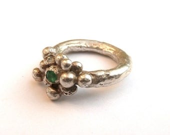 Silver Bubble Ring with Emerald