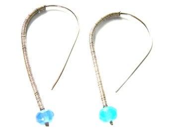 Handmade Chalcedony Earrings Sky Blue, blue earrings, gemstone earrings, modern earrings, chalcedony and silver earrings, handmade earrings