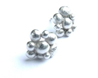 Silver Cluster Earrings, silver studs, stud earrings, modern earrings, contemporary earrings, handmade earrings, post earrings, granulation